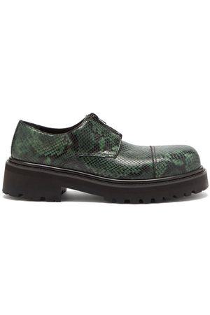 Vetements Chunky-sole Python-effect Leather Derby Shoes
