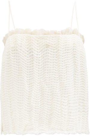 Khaite Susanna Crinkled Linen-blend Honeycomb-gauze Top