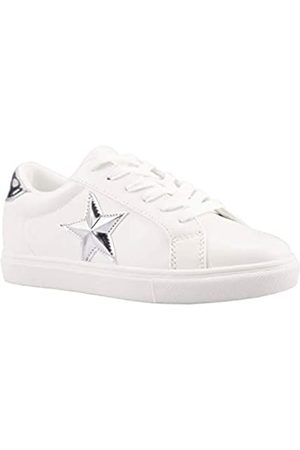 PARTY Damen Fashion Star Sneaker Schnürschuhe Low Top Bequeme gepolsterte Wanderschuhe, (T-White Silver PU)