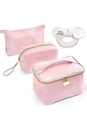 Sinlaku Make-up-Taschen für Frauen, 3 Stück, tragbare Reise-Kosmetiktaschen-Set mit goldenem Reißverschluss, große Multifunktions-Organizer-Aufbewahrungstasche für Frauen und Mädchen, Geschenk, Make-up-Tasche, Organizer für Geldbörse