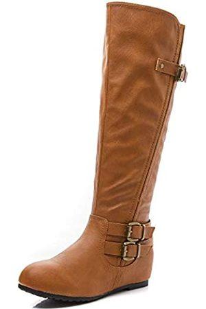 LifeStep Damen Lace Up Round Toe Low Heel Overknee Stiefel, (Tan-1)