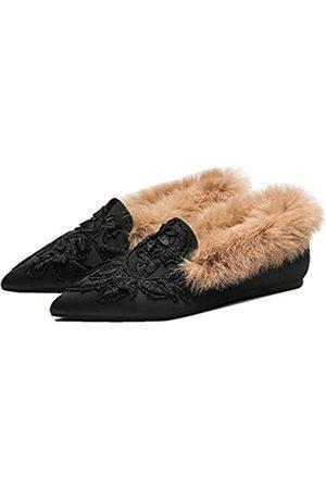 Fericzot Feric zot Schlupfschuhe für Damen, bestickt, mit Plüsch-Lammfell-Samt-Hausschuhe, rückenfrei, spitz zulaufende Zehen, Schwarz (Solide schwarze Ferse)