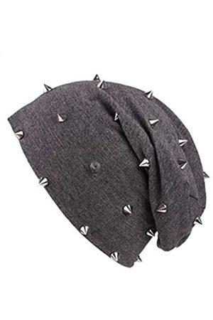 CharmTM Leichte dünne Beanie-Mütze mit Nieten für Damen. - Grau - Einheitsgröße