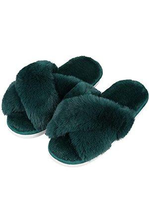 Evshine Flauschige Hausschuhe für Damen, Kreuzband, weicher Plüsch, offener Zehenbereich, rutschfest, gemütlich, Memory-Schaum
