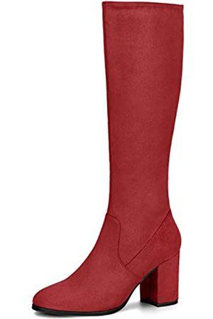 Allegra K Damen Round Toe Reißverschluss Blockabsatz Kniehohe Boots Stiefel 40