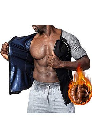 Hioffer Herren Schwitzen Sauna Weste Taille Trainer Anzug Hot Polymer Shirt Workout Reißverschluss Body Shaper - - XXX-Large