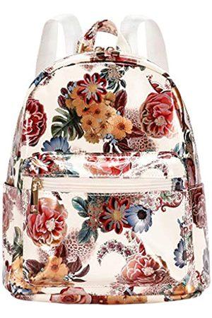 LEDAOU Mini Rucksack Geldbörse Leder Klein Rucksack für Mädchen Frauen Mode Reise Rucksack Niedlich Kleine Daypacks, (Weiße/Blumen)