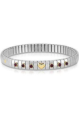 Nomination Damen-Armband Edelstahl Granat rot 21 cm - 044609/014