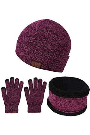 BeCann Wintermütze, Schal, Touchscreen-Handschuhe, 3 Stück, große Mütze, Schal, Handschuhe, Set, dick, gestrickt