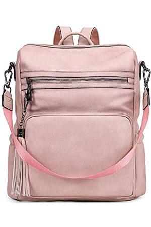 CLUCI Damen Taschen - Rucksack für Damen, modische, große Leder-Designer-Reise-Schultertasche mit Quaste, Pink (Zweifarbiges )