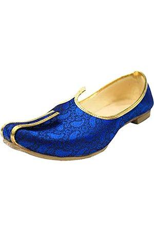 Step N Style Blue Mojari für indische Herren Traditionelle Ethnische Jutti und Sherwani Schuhe für Hochzeit
