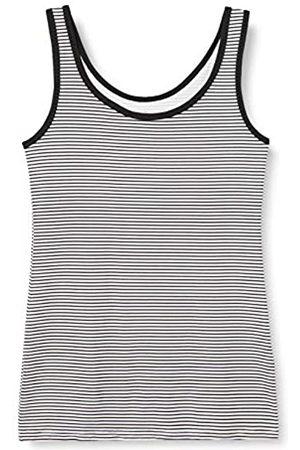 IRIS & LILLY Unterhemd Damen aus Baumwoll-Jersey mit U-Ausschnitt, 2er Pack, Mehrfarbig (Weiß, /Weiß gestreift)