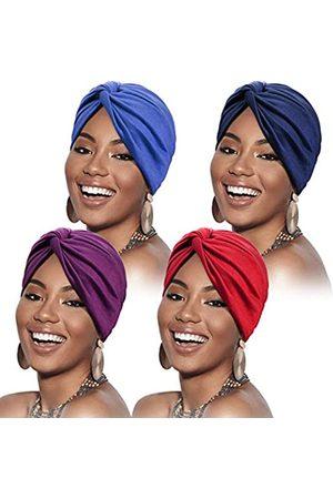 SATINIOR 4 Stücke Turbane für Frauen Soft Vorgebunden Knot Mode Plissee Turban Hut Mütze Kopfwickel Schlafmütze, 4 Farben (Königsblau, , Marineblau