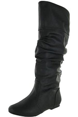 Qupid Damen Neo144 Kniehohe flache Stiefel aus Kunstleder, ( Pu-14)