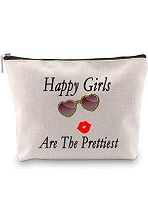 """PXTIDY Kosmetiktasche mit Audrey-Hepburn-Zitat """"Happy Girls Are The Prettiest"""", inspirierendes Geschenk für Sie, Reisetasche"""