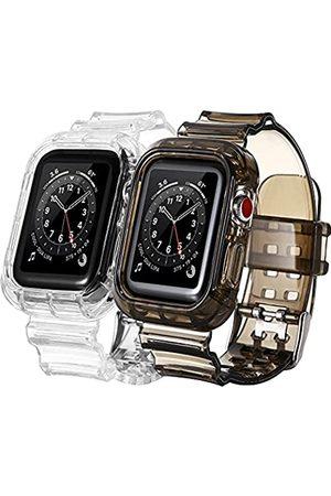 BNBIDEN Herren Armbänder - [2 Pack] Armbänder kompatibel mit Apple Watch Bands 42 mm 44 mm für Damen und Herren, transparent, Sport