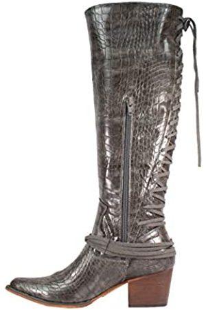 ARIDER Girl Haley Whiskey Westernstiefel, kniehoch, spitzer Zehenbereich, Schnürung auf der Rückseite, Reißverschluss, (Croco anthrazit)
