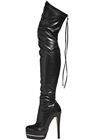 Stupmary Damen Overknee-Stiefel, oberschenkelhoch, Plateaustiefel, Absatz, Party, Reißverschluss hinten