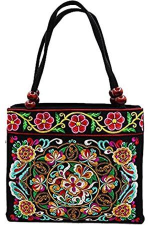 SAKUXI Damen Strandtaschen - Bestickte Canvas Handtaschen Hobo Taschen Vintage Schultertaschen Strandtasche Boho Floral Tasche Reisetasche Einkaufstasche für Frauen, Schwarz (Retro Blume)
