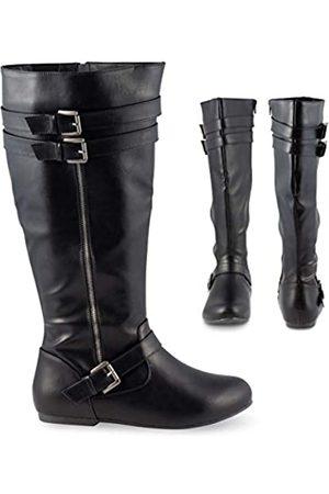 Twisted Shelly Damen Kniehohe breite Wadenstiefel Vegan Leder Knöchelschnalle Schuhe