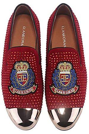 ELANROMAN Herren Loafers Leder Gold Quaste & Cap Toe Schnalle Penny Party Hochzeit Abschlussball Schuhe