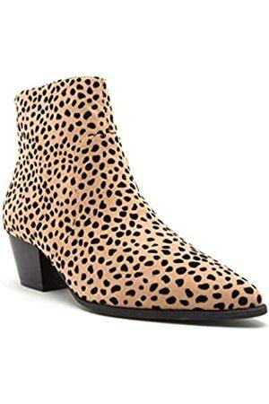 Qupid Mystique Stiefeletten für Damen, spitz zulaufender Zehenbereich, ( Leopard Wildleder)