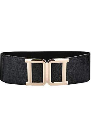 SYMOL Damen Gürtel aus Leder, Vintage-Stil, breit, 69-178 cm, elastischer Bund mit Interlock-Schnalle