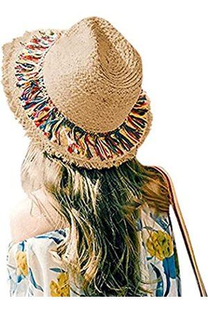 FASHIONMIA Frauen Casual Sommer Strand Sonnenhüte breite Krempe Strohhut Fedora UPF50 - - Medium