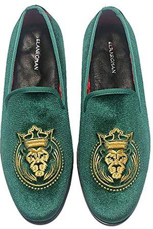 ELANROMAN Loafers für Herren Samt Schuhe der Mode bestickt 1.0 und 2.0 Party Hochzeit Abschlussball Schuhe, Grün (olivgrün)