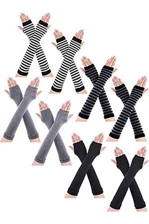 Bememo 8 Paar fingerlose Winterhandschuhe mit langem Daumenloch für Damen und Mädchen