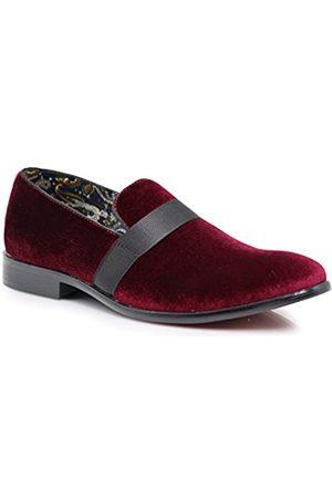Enzo Romeo SPK03 Herren Vintage Einfarbig Samt Kleid Loafers Slip On Schuhe Klassische Smoking Kleid Schuhe, (Burgund (08))