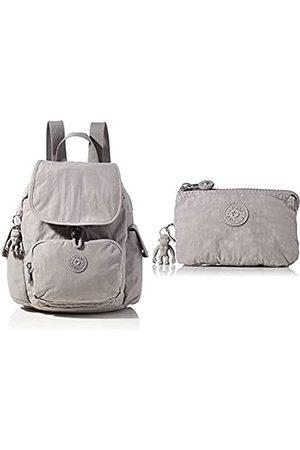 Kipling Womens City Pack Mini Backpacks, Grey Gris, 27x29x14 Centimeters (B x H x T) + Womens CREATIVITY S Pouches/Cases, Grey Gris