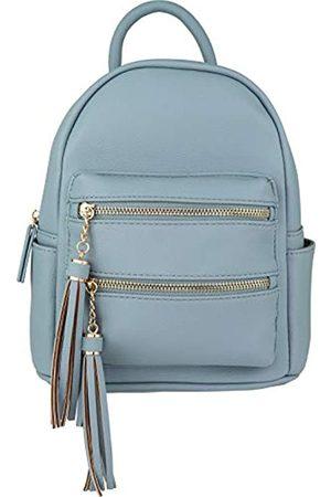 B BRENTANO Mini-Rucksack mit mehreren Reißverschlüssen oben und Quasten-Akzenten, (Sky Blue.)