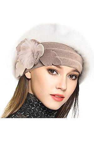VECRY Baskenmütze für Damen, französisch, 100 % Wolle, Blumenmuster, Beanie
