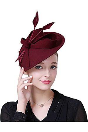 F FADVES Vintage Damen Fascinator Wolle Pillbox Hut formelle Kirche Hochzeit kippbar - - Medium