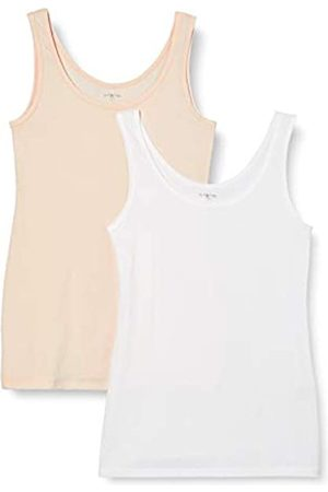 IRIS & LILLY Unterhemd Damen aus Baumwoll-Jersey mit U-Ausschnitt, 2er Pack, Mehrfarbig ( , Soft Pink)