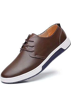 konhill Herren Casual Oxford Schuhe Atmungsaktiv Kleid Schuhe Loafers Schnürer Flache Sneakers, (Pt Kaffee)