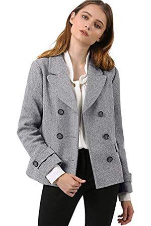 Allegra K Damen Langarm Revers Zweireiher Button Peacoat Mantel XS