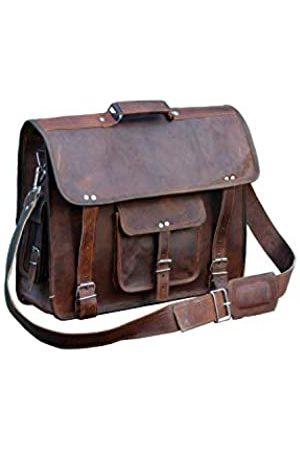 Shy Shy Let's Touch The Sky Braune Leder-Kuriertasche für Damen und Herren, Aktentasche, Laptop-Tasche, Used-Look, 33 x 45