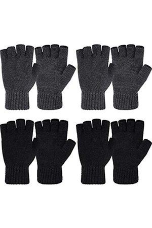 SATINIOR Fingerlose Winterhandschuhe, warm, dehnbar, gestrickt, halbe Finger