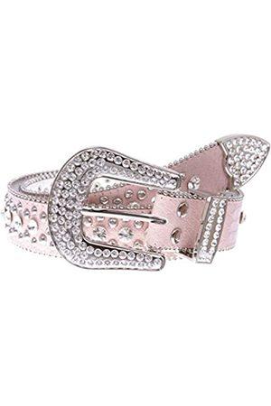 beltiscool Damen Western Cowgirl Alligator Strass Nieten Leder Gürtel - Pink - 102 cm