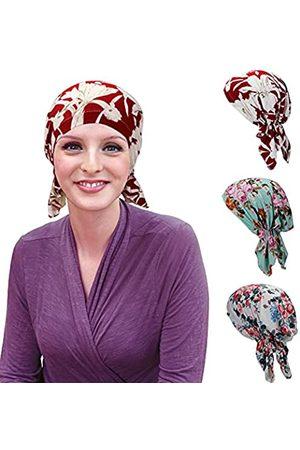Qovelly Vorgebundene Kopftücher, 3 Packungen, Schlupfmützen, Chemo-Abdeckungen