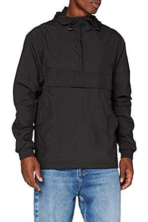 Build Your Brand Mens Basic Pull Over Jacket Windbreaker, Black