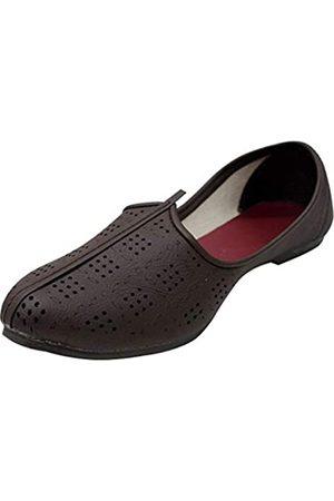 Stop n Style Mojari Schuhe für Herren Punjabi Jutti Jalsa Schuhe Nagra Schuhe Sherwani Passende Hochzeitsschuhe, (coffee)
