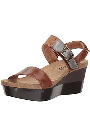 Naot Damen Alpha-Print Keilabsatz Sandale, (Ahornbraunes Leder/Latte Leder/Spiegel Leder)