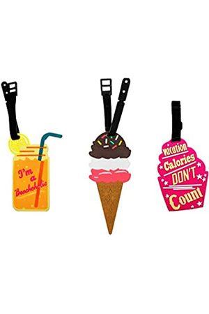 Cellanet [ 3er Set ] Gepäckanhänger Reisetasche Koffertasche leicht zu identifizieren mit leckeren Lebensmitteldesigns mit sicherem Gurt