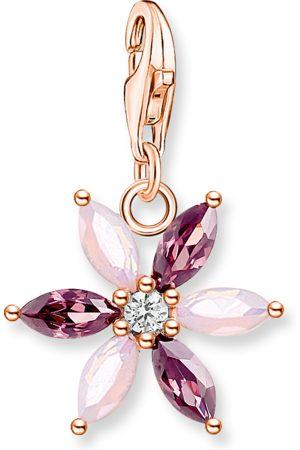 Thomas Sabo Damen Anhänger - Charm-Anhänger Blume rosa Steine roségold mehrfarbig