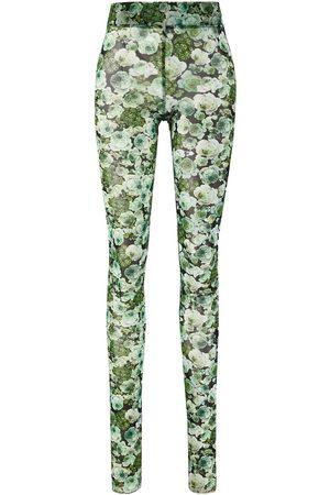 Ganni Damen Leggings & Treggings - Mesh-Leggings mit Blumenprint