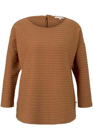 Tom Tailor Denim Damen Longsleeves - Damen Gestreiftes Shirt mit Schleifendetail, , Gr.L