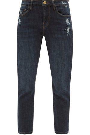 FRAME Le Garcon Cropped Distressed Slim-leg Jeans